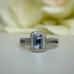 Upcycled 14k white gold aquamarine and diamond ring