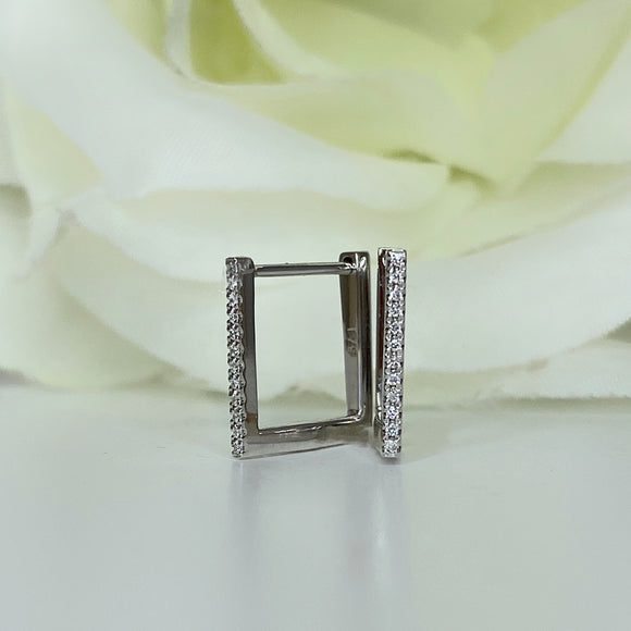 Square hinged diamond hoop earring