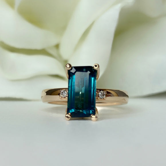 Custom indicolite tourmaline ring