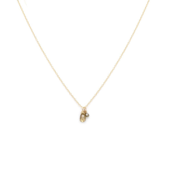 Duet diamond necklace 14k