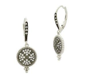 Signature pave disc lever back earring