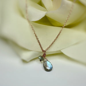 TJ's Custom Labradorite Drop Necklace- 10K Rose Gold