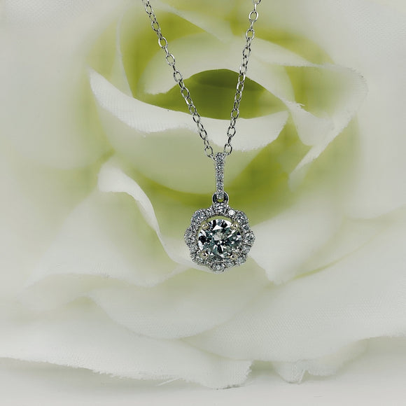 Scalloped edge diamond halo pendant