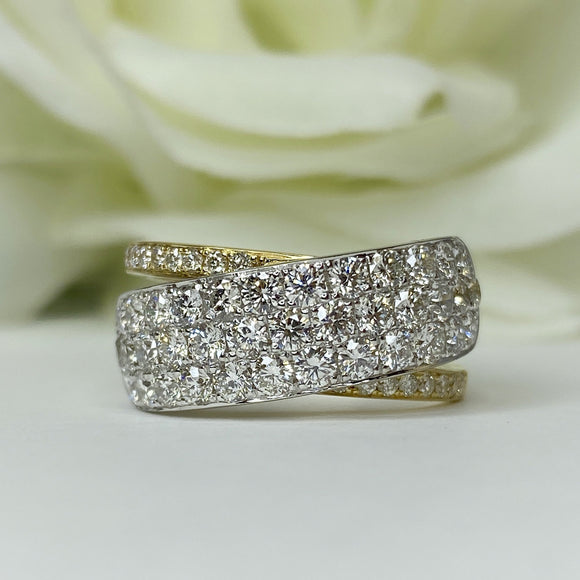 AR4271 two tone gold 7mm wide pave diamond band - size 6