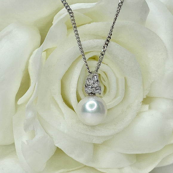 Cultured Pearl & 1/4 ct Diamond Pendant