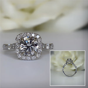 Halo engagement ring with labgrown center