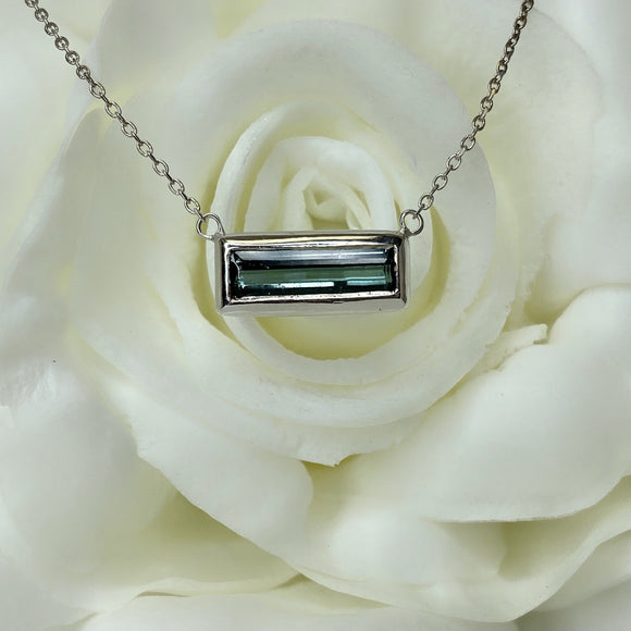 TJ's custom made 10k white gold green tourmaline necklace