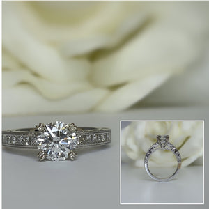 Vintage inspired round and princess cut Diamond engagement ring