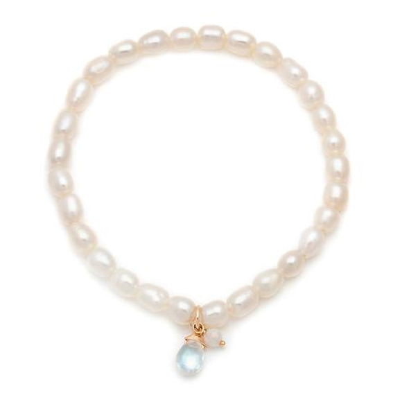 Our classic stretchy Social bracelet's little sister, offered in pearl with moonstone charms.