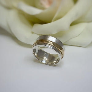 TJ's custom meditation ring in Sterling & Yellow Gold