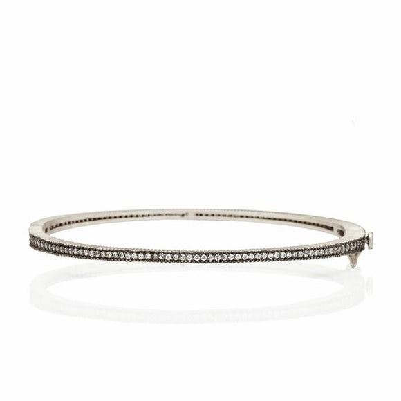 Signature thin pave hinged bangle