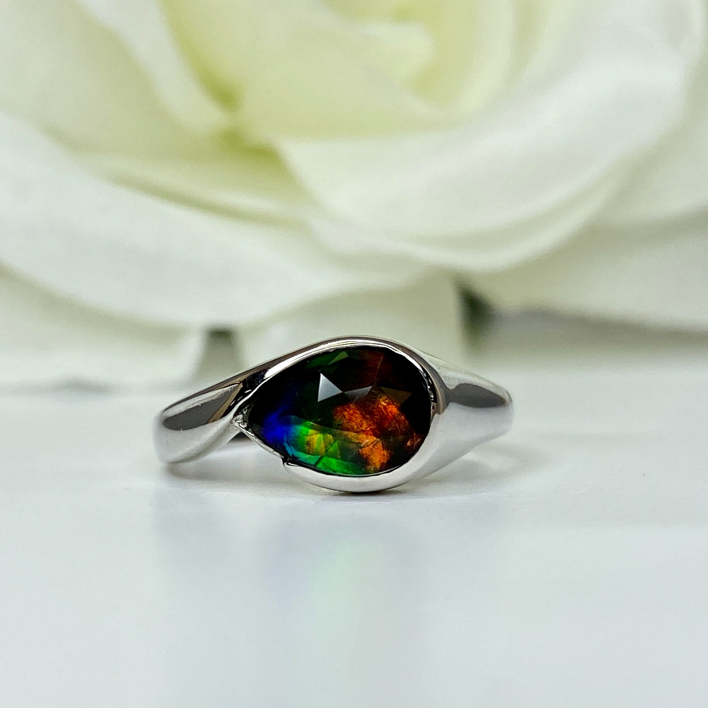 AMM8157   Korite 14k White Gold Pear Shaped Ammolite Ring