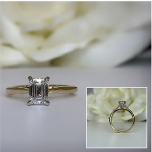 14k yellow gold emerald cut lab grown engagement ring
