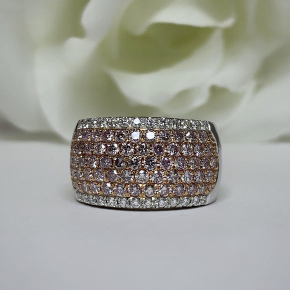 AR894 A fancy Pink and White Diamond Band - over 2 carats, size 7.5