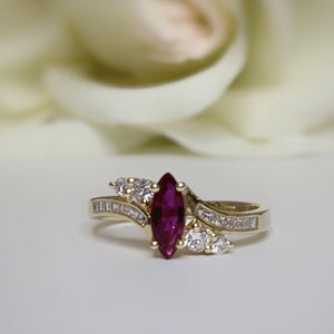 Vintage marquise Ruby with Diamonds ring - size 6.5