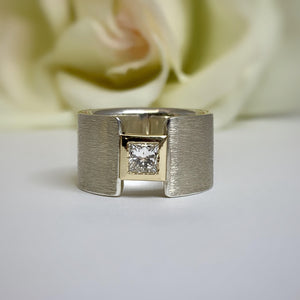 TJ's Custom wide Princess cut Diamond ring