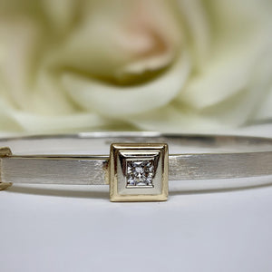 TJ's Custom Sterling and Yellow Gold Diamond Bangle