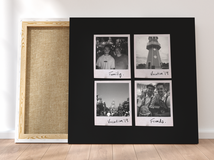 Personalised Multi-Polaroid Canvas (Black)