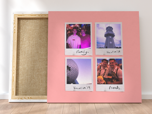 Personalised Multi-Polaroid Canvas (Pink)