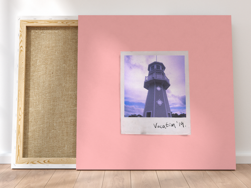 Personalised Single-Polaroid Canvas (Pink)