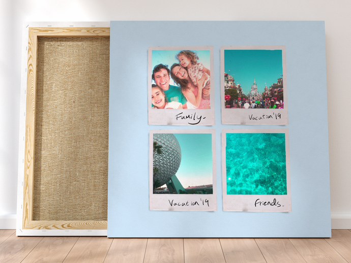 Personalised Multi-Polaroid Canvas (Blue)