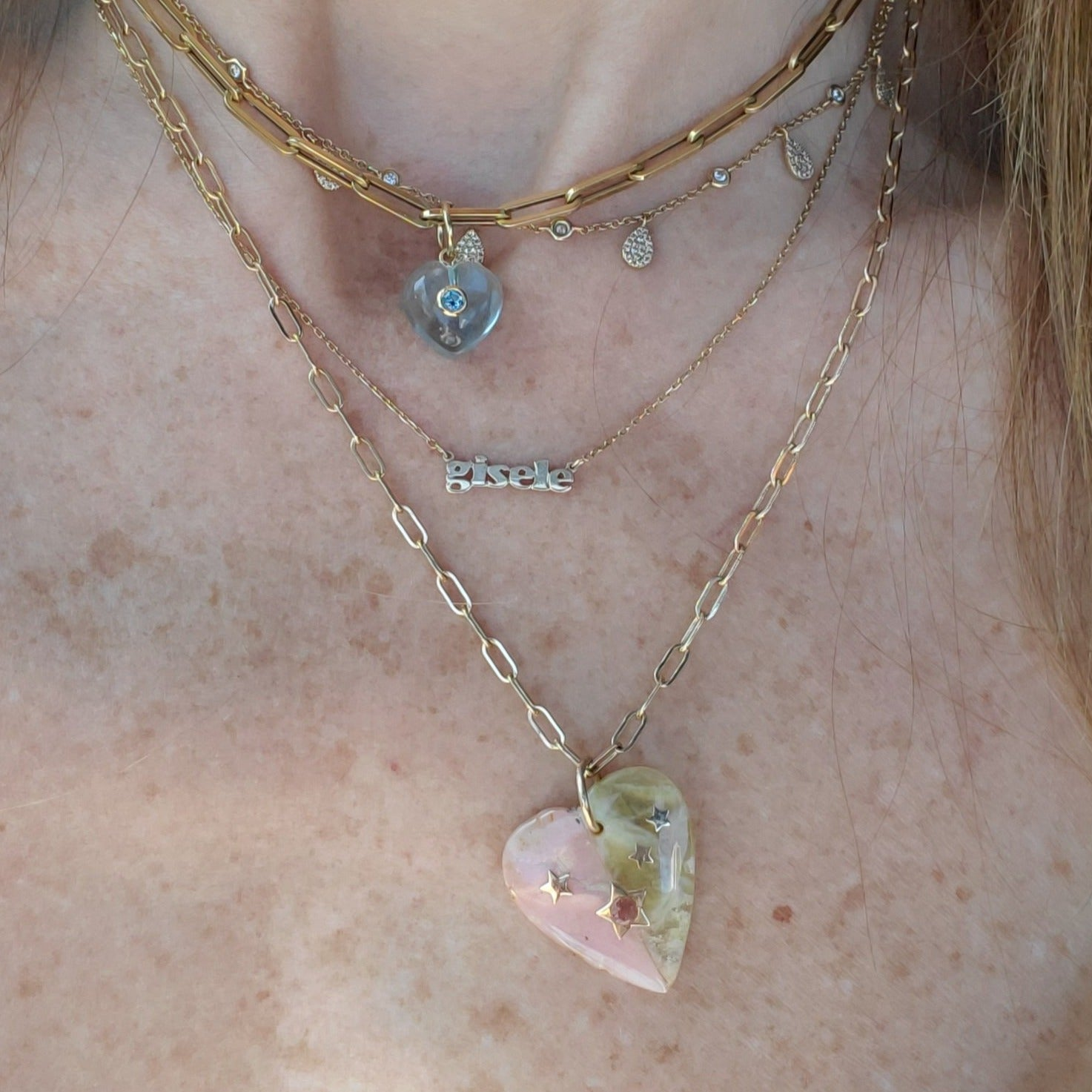 ☆PINK/YELLOW OPAL HEART☆