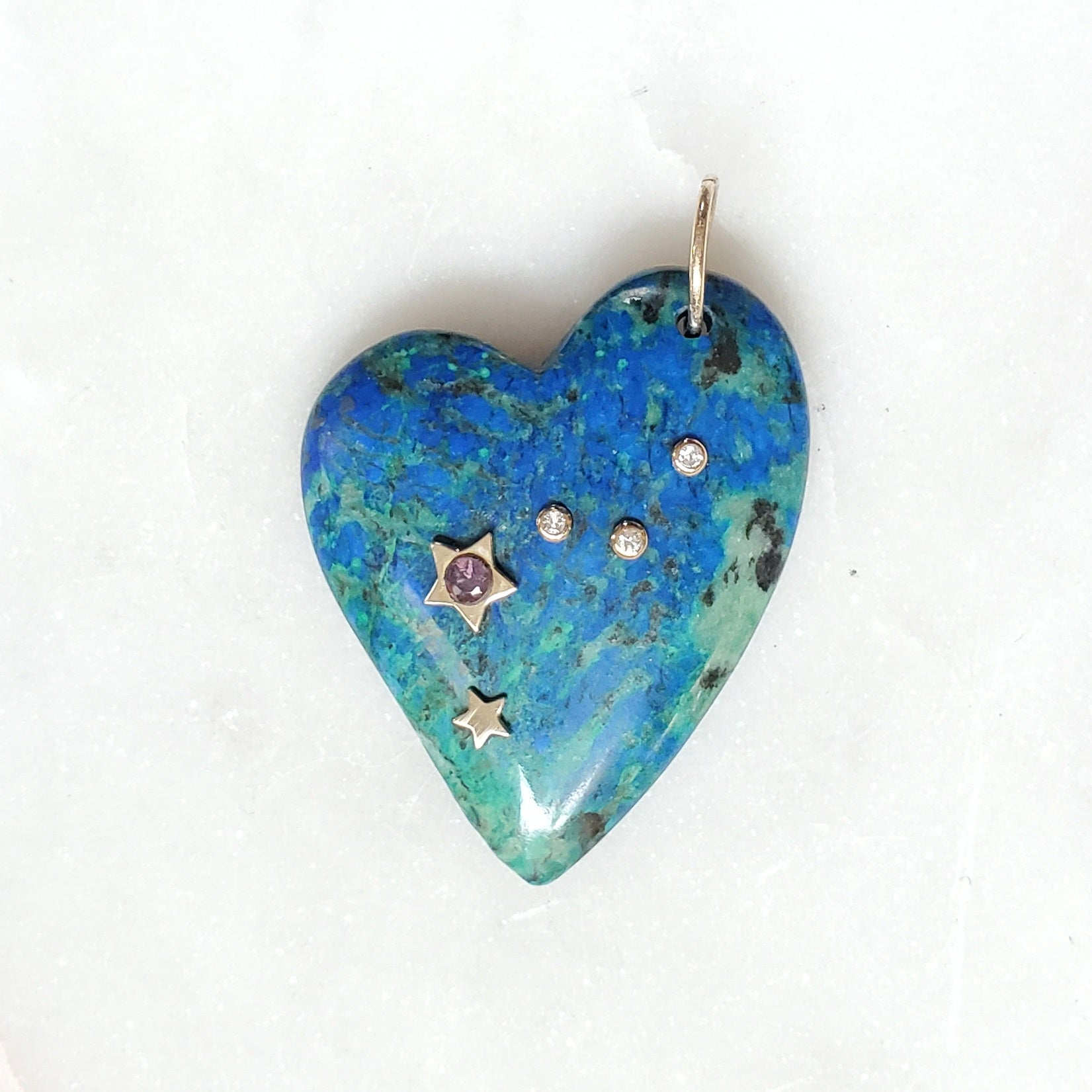 AZURITE-CHRYSOCOLLA Heart. Pink Tourmaline☆ & Diamonds