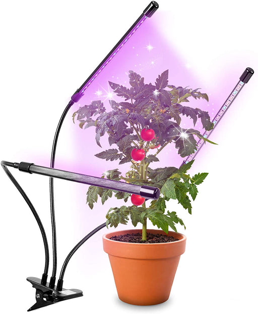 Duronic Grow Light GLC36 | Triple Clip-On Lamp for Indoor Plants | Full Spectrum 54x Red & Blue LED Bulbs | 3 Colour Modes | 3 Heads with Adjustable Goosenecks | 60W | Dimmable 6X Brightness Levels
