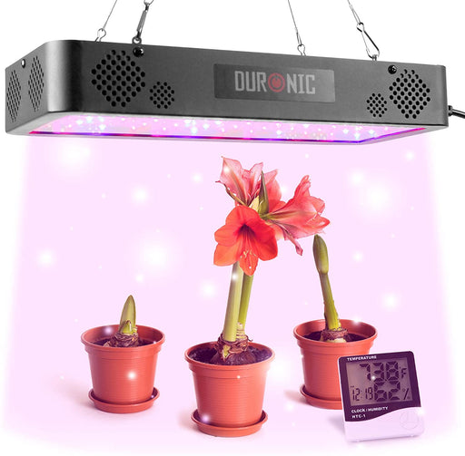 Duronic Hanging Grow Light GLH60 | Indoor Garden Lamp for Plants or Herbs | 60x LED Full Spectrum Bulbs: White, Red & Blue| Double Switch / 2 Modes: Veg & Bloom | Heat Dissipation System | 600W