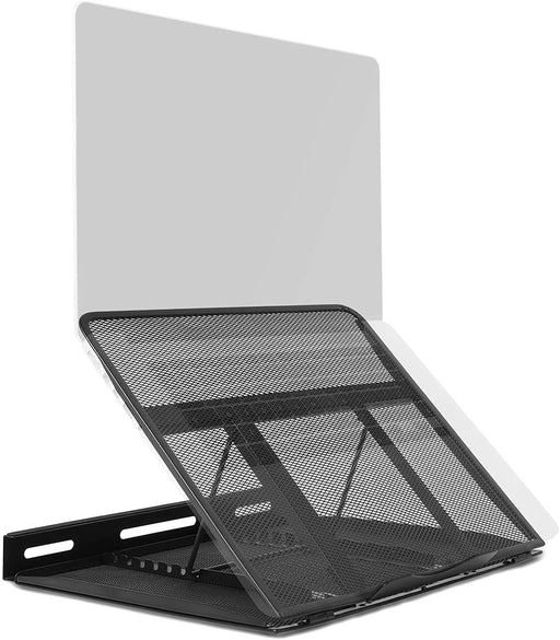 Duronic Monitor Laptop Stand DM074 | Multi-Use Desk Riser | Adjustable to 9x Height Positions | Foldable Portable Ergonomic Design | Mesh Support Tray for Tablet or MacBook | Portable