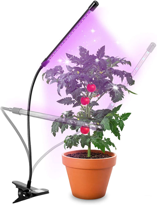 Duronic Grow Light GLC12 | Single Clip-On Lamp for Indoor Plants | Full Spectrum 18x Red & Blue LED Bulbs | 3 Colour Modes | 2 Heads with Adjustable Goosenecks | 20W | Dimmable 6x Brightness Levels