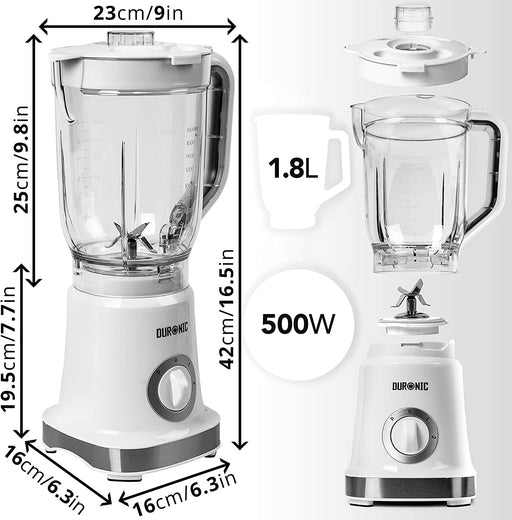 Duronic Electric Blender BL5 | 1.8 Litre BPA-Free Jug | 500W Motor | Stainless-Steel Ninja Sharp Blades | Pulse Mode | Blends to Make Smoothies, Shakes, Soups, Sauces, Crushes Ice