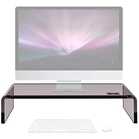 Duronic Monitor Stand Riser DM054 | Laptop and Screen Stand for Desktop | Black Acrylic | Support for a TV or PC Computer Monitor | Ergonomic Office Desk Shelf | 30kg Capacity | 50cm x 20cm