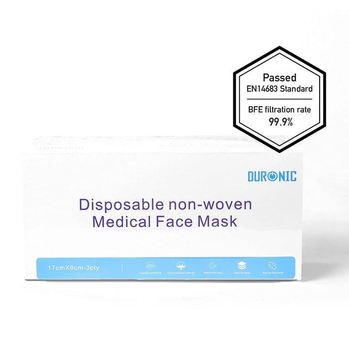 Duronic Medical Grade Face Masks GM50 GY | GREY | Pack of 50 in Sealed Packet | EN14683: 2019 Type II | Filtration Level: 99% Achieved on Test | Disposable 3-Ply High Grade Face Covering with Filters