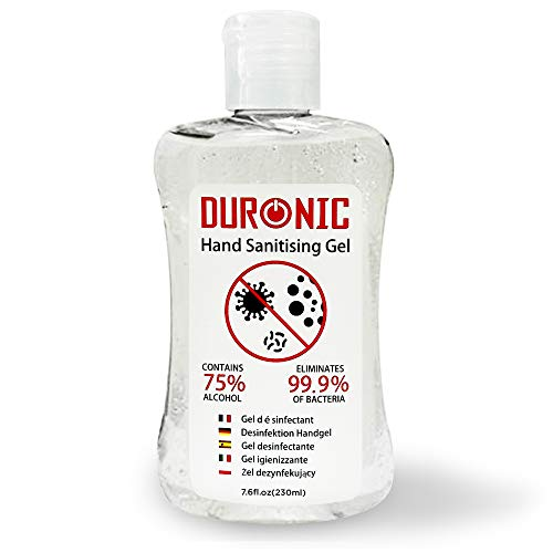 Duronic Hand Sanitiser Gel S230ML | 230ml Bottle - Family Size | 75% Alcohol | Kills 99.9% Bacteria | Anti-bacterial | Fast Drying | Fragrance-Free Formula