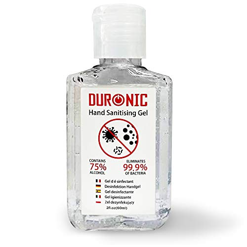 Duronic Hand Sanitiser Gel S60ML | 60ml Bottle - Pocket Size | 75% Alcohol | Kills 99.9% Bacteria | Anti-bacterial | Fast Drying | Fragrance-Free Formula