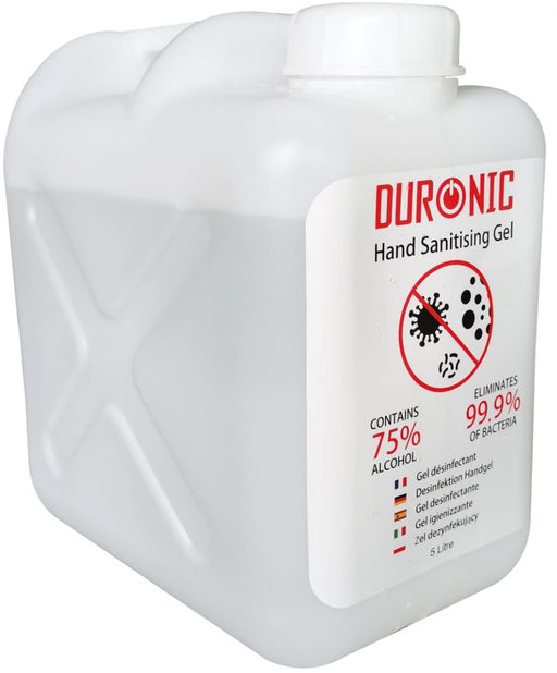 Duronic Hand Sanitiser Gel S5000ML | 5000ml Bottle – Large 5 Litre Refill Size | 75% Alcohol | Kills 99.9% Bacteria | Anti-bacterial | Fast Drying | Fragrance-Free Formula