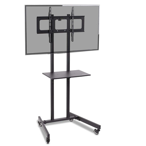 "Duronic TVS5T1 TV Stand Floor Trolley Mount Heavy Duty Mobile Exhibition/Meeting Room 33""-70"" DVD Shelf -Suitable for LCD, Plasma, Led, Oled, 4K, 3D TV`s 37"" 40"" 42"" 46"" 50"" 55"" 60"" 65"" 70"""