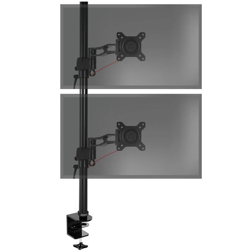 Duronic Dual Screen Monitor Stand DM35V2X2 | Double/Twin PC Desk Mount | Aluminium | For Two 13-27 Inch LED LCD Screens | VESA 75/100 | 8kg Per Screen | Tilt -15°/+15°,Swivel 180°,Rotate 360°