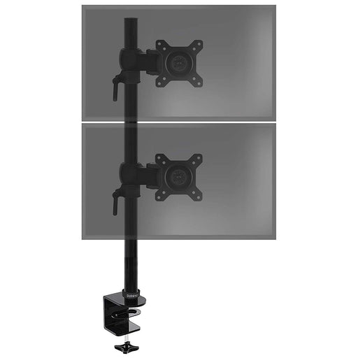Duronic Dual Screen Monitor Stand DM35V2X1 | Double/Twin PC Desk Mount | Aluminium | Adjustable | For Two 13-27 Inch LED LCD Screens | VESA 75/100 | 8kg Per Screen | Tilt -15°/+15°,Swivel 180°,Rotate 360°