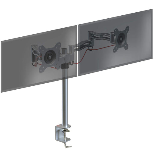 Duronic Monitor Arm Stand SILVER DM352[SR] | Double PC Desk Mount | Aluminium | Height Adjustable | For Two 13-27 LED LCD Screens | VESA 75/100 | 8kg Per Screen | Tilt +15°/-15°,Swivel 180°,Rotate 360°