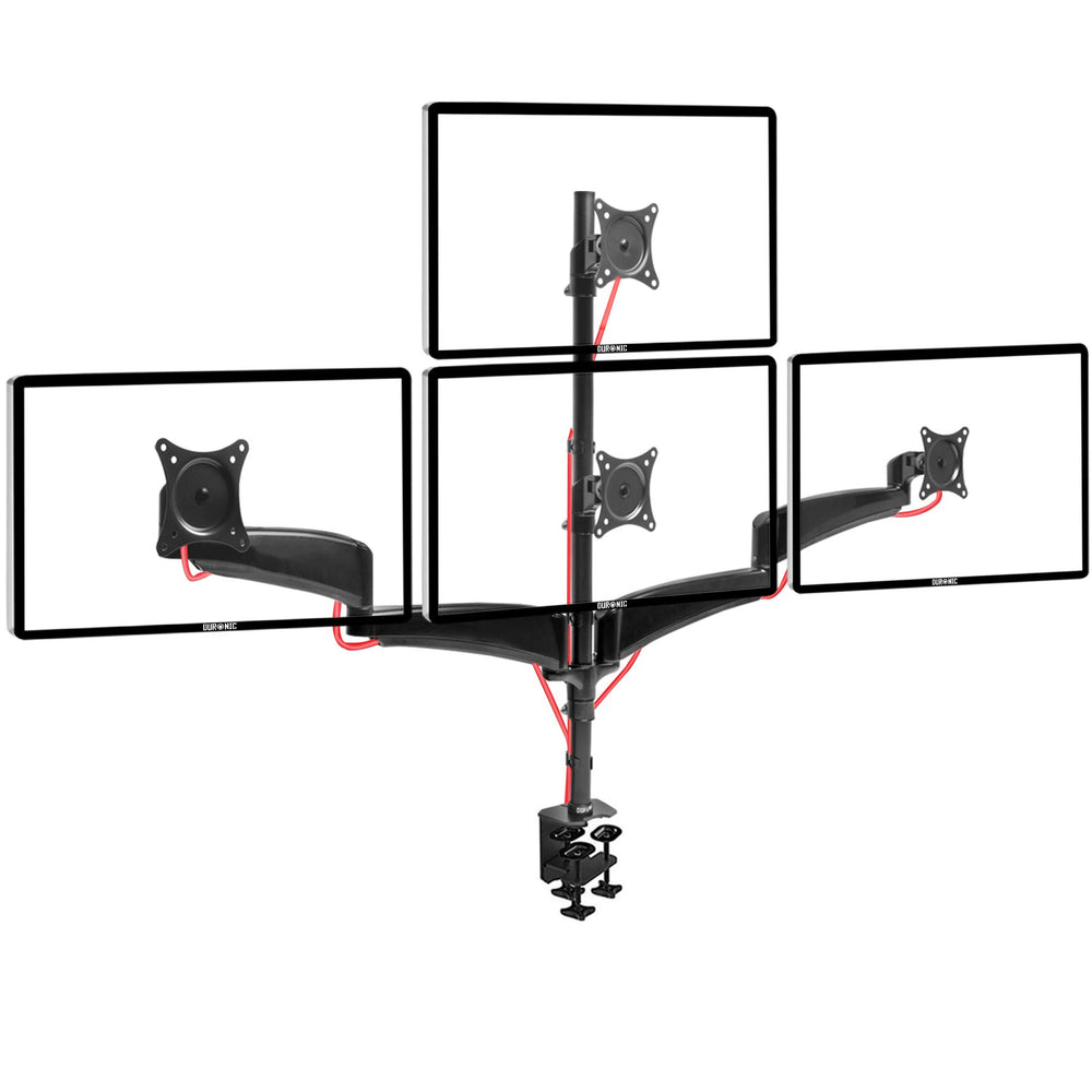 Duronic Monitor Arm Stand DM453VX1 | Single PC Desk Mount | Height Adjustable | For One 13-27 LED LCD Screen | VESA 75/100 | 13kg Per Screen | Tilt +90°/-45°, Rotate 360°