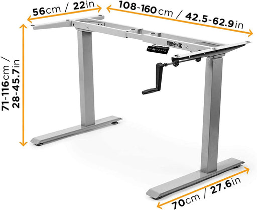 Duronic Sit Stand Desk Frame TM00GY | Manual Standing Office Table | Height Adjustable 71-116cm by Crank Handle | Ergonomic Workstation | Sturdy and Robust | Customisable | GREY