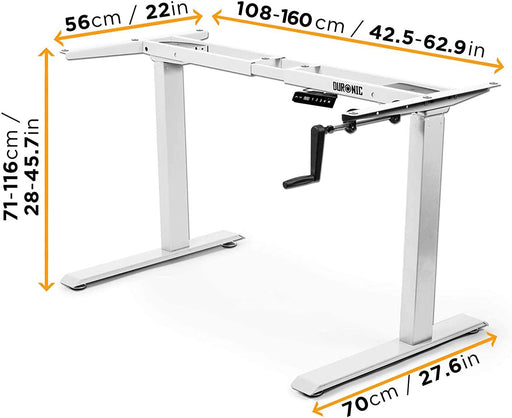 Duronic Sit Stand Desk Frame TM00WE | Manual Standing Office Table | Height Adjustable 71-116cm by Crank Handle | Ergonomic Workstation | Sturdy and Robust | Customisable | WHITE