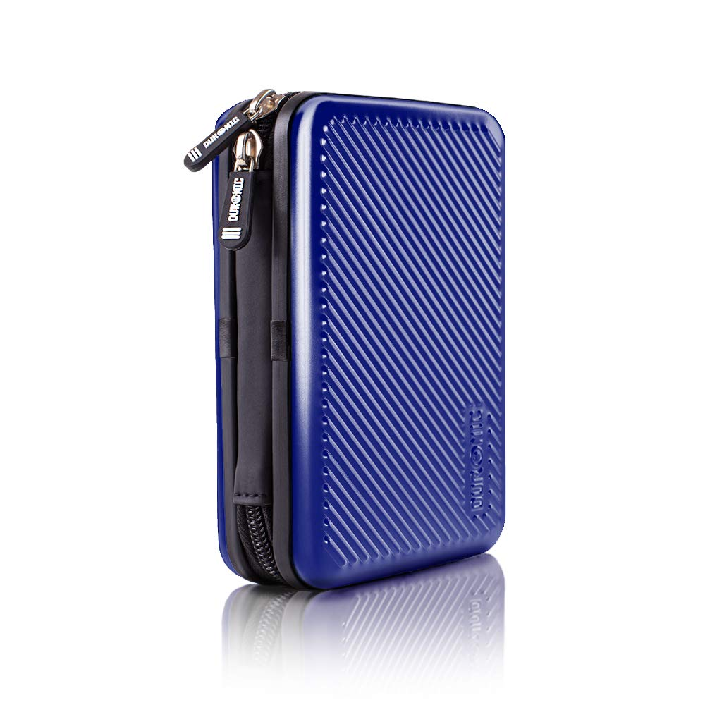 Duronic Hard Drive Case HDC3 /BE | BLUE | Portable ALUMINIUM Storage Pouch for External Hardrive & Cables | Lightweight & Protective |Suitable for Western, Toshiba, Buffalo, Hitachi, Seagate, Samsung