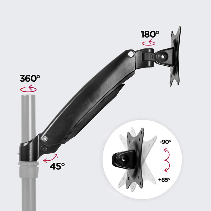Duronic Spare Arm DML5S1 | DM55 Whole Arm and VESA Head | Compatible with All Duronic Desk Mount Poles | BLACK | Steel | VESA Head Rotates 360°, Tilts +85°/-90° | Fits VESA 75/100