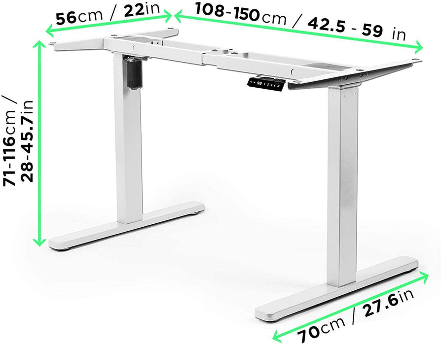 Duronic Sit Stand Desk Frame TM12WE | Electric Standing Office Table | Height Adjustable 71-116cm | Ergonomic Workstation | WHITE | Memory Function | Single Motor / 2 Stage