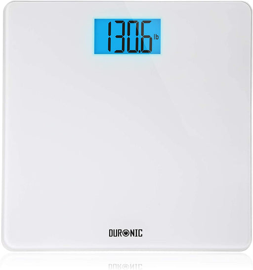 Duronic Body Scales BS403 | Measures Body Weight in Kilograms, Pounds and Stones | White Glass Design | Step-On Activation Bathroom Scales | Precision Sensors | XL Digital Display | 180kg Capacity