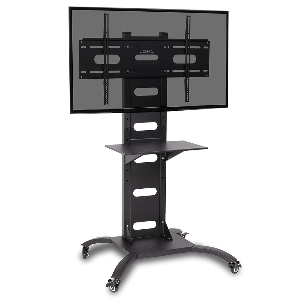 "Duronic TVS4T1 Heavy Duty Mobile Exibition/Meeting Room Trolley 37""-70"" Floor TV Stand with Shelf. Suitable for LCD, Plasma, Led, Oled, 4K, 3D TV`s 37"" 40"" 42"" 46"" 50"" 55"" 60"" 65"" 70"" …"