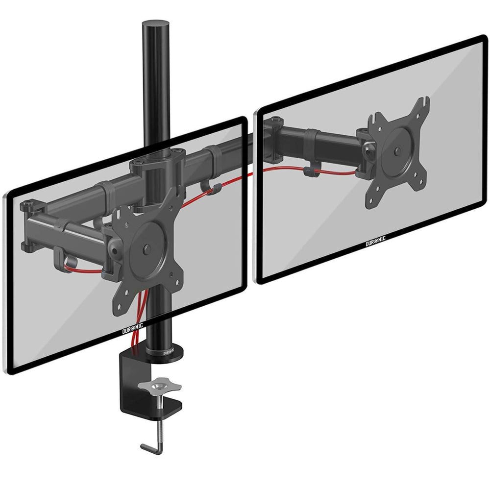 Duronic DM252 Dual Monitor Arm Stand | Double PC Desk Mount | Steel | Height Adjustable | For Two 13-27 Inch LED LCD Screens | VESA 75/100 | 8kg Per Screen | Tilt -90°/+35°,Swivel 180°,Rotate 360°